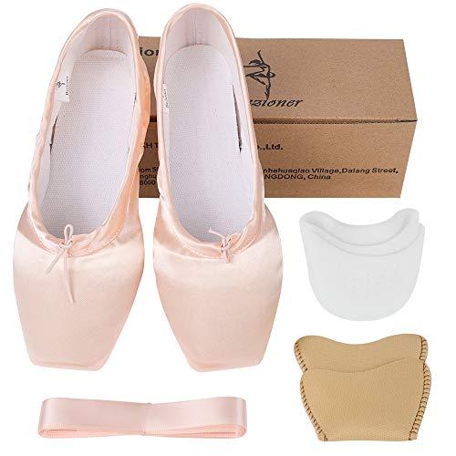 Bezioner-Shop Scarpe da balletto per donna e ragazza. Scarpette a punta da balletto con nastro (Si prega di scegliere una misura in più rispetto alla tua abituale), Rosa