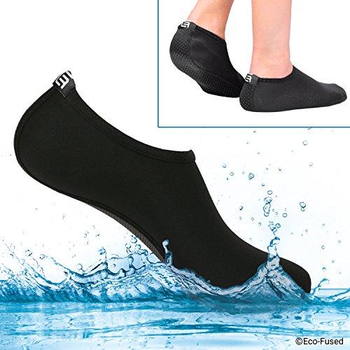 Calzini Acquatici Donna - Extra Comfort - Protegge da Sabbia, Acqua Fredda/Calda, UV, Rocce/Ciottoli - Calzature Easy Fit per Nuoto, Beach Volley, Snorkeling, Vela, Surf, ECC. (Nero, (L) 42-44)
