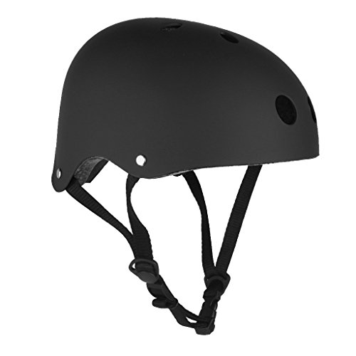 Casco da Sci Pattino Bike Motorino Ciclismo Skateboard Protettore Sportiva Teste Caschi Protettiva - Nero, M