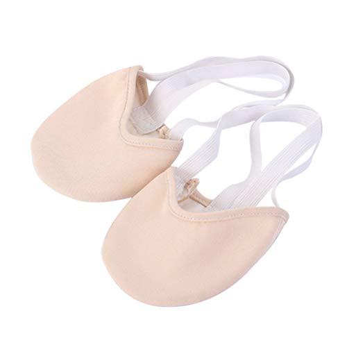 Clispeed Mezza Punta Scarpa Balletto da Ballo in Cotone con Ballerina per Ballerini e Gara di Ginnastica Ritmica (Colore della Pelle, Taglia S)