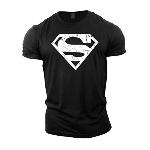 GYMTIER Magliette da Uomo per Bodybuilding - Superman Vascular - Top per Allenamento in Palestra