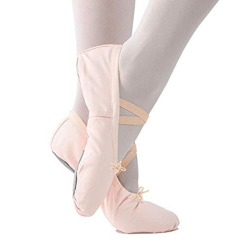Imixcity Scarpette da Ballerina Scarpe da Ballo Mocassini Danza Classica Scarpe per Balletto Ginnastica Yoga (35 EU, (Tela) Albicocca-Rosa)