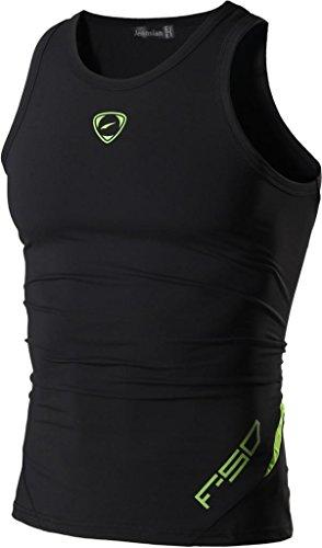jeansian Uomo Sportivo Palestra Muscolo Formazione Veste Canotta Fashion Workout Vest Tank Top LSL3306 Black S
