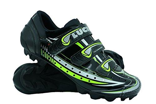 LUCK Scarpe da Ciclismo Master, con Suola di Carbonio E Tripla Striscia di Velcro per Una Fissaggio, Nero. (38 EU)