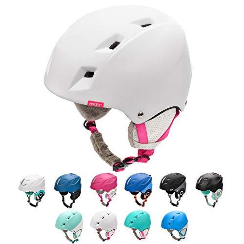 Meteor Casco da Sci Invernale e da Snowboard per Bambini, Giovani e Adulti Regolabile Ski Helmet per Gli Sport Invernali, Skate e Alpinismo (S 53-55 cm, Bianco/Rosa)