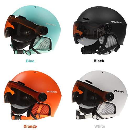 mildily Casco da Sci da Snowboard, Casco per Sport sulla Neve con Occhiali per PC Casco Unisex tra Cui Nero/Bianco/Blu/Arancione, Caschi con Cinture Finemente Sintonizzate Sono Perfette per Tutti.