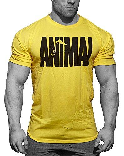Minetom T-Shirt Uomo Leisure Basic Manica Corta Stampa Animale Girocollo Tops Bodybuilding Allenamento Muscoli Tee Shirt Giallo EU M