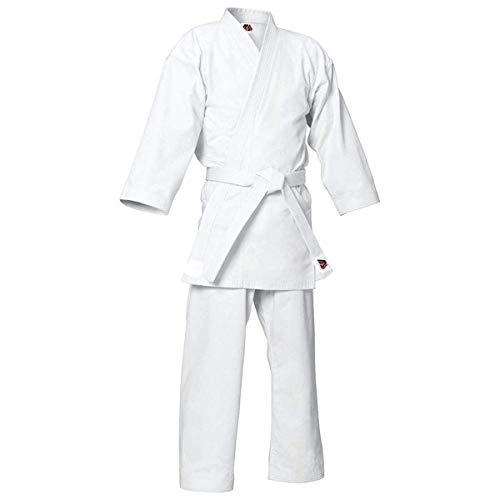 MYmixtrendz. Costume de Karaté Blanc pour Adulte et Enfant étudiant avec Un Ensemble de Kimono garçon uniformes en Poly/Coton GRATUIT (pré-rétréci) (White, 4/170cm Medium)