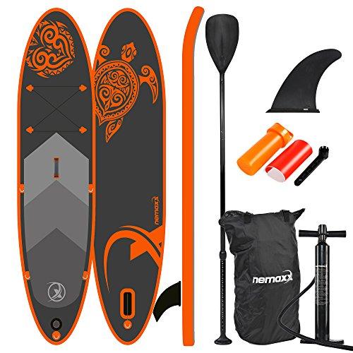 Nemaxx Tavola da paddel Surf SUP 300x76x15cm, Arancio/Antracite - tavola da paddel Board, tavola da Surf - Gonfiabile con Borsa, pagaie, Pinne, Pompa ad Aria, Kit di Riparazione.