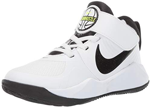 Nike Team Hustle D 9 (PS), Scarpe da Basket Unisex-Bambini, Bianco (White/Black/Volt 000), 31 EU