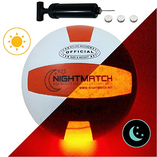 Pallone da Pallavolo che si illumina NightMatch incl una Pompa per gonfiare il pallone - I LED interni si accendono quando viene rimbalzato - Brilla nel Buio - Dimensione 8 - Dimensioni&Peso Ufficiali