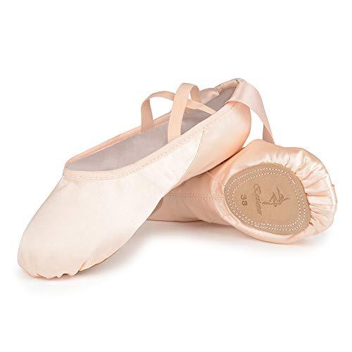Scarpe da Danza Classica Raso Scarpetteda Ballo con Il Nastro Suola Diviso in Pelle Ginnastica Ballo Pantofole per Bambini e Adulti 37 EU