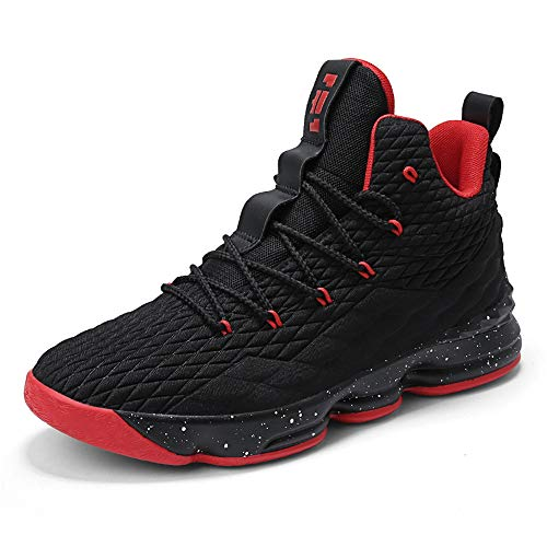 Scarpe Uomo da Pallacanestro Leggere Basket Sneakers Alte Sportive Esterno Grandi Calzature da Corsa Nero Rosso Champagne Verde Acceso 36-46 Nero Rosso 45