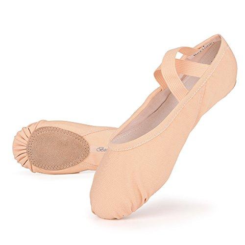 Scarpette da danza, da mezza punta, in tela, suola spezzata, varie misure per bambini e adulti rosa EU 32