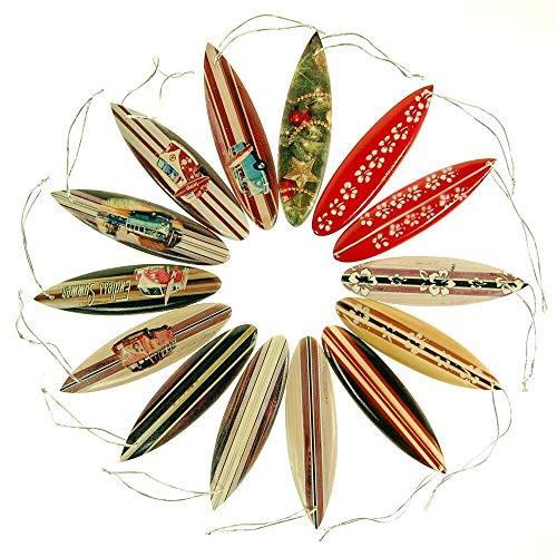 Seestern Sportswear FBA_1751-1860 - Tavola da Surf, Albero di Natale, Decorazione Natalizia, 14 Pezzi