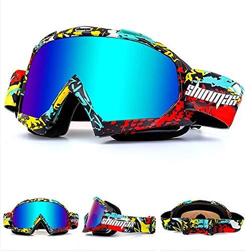 Shinmax Occhiali da Sci, Unisex Motocross Sport Motoslitta da Neve Sci Snowboard Goggles, Anti Nebbia Polvere UV, Polvere AntiGraffio Resistente Pieghevole Antivento Occhiali Protettivi Occhiali