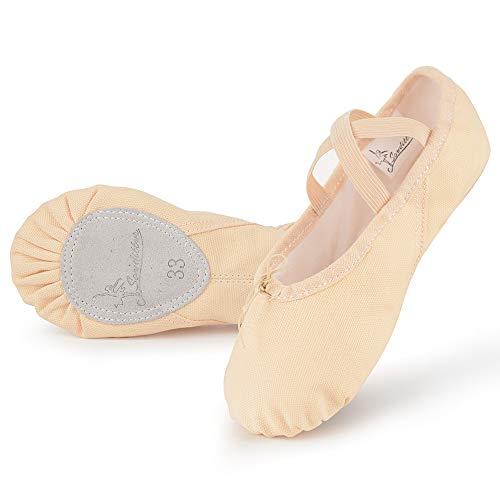 Soudittur Scarpe Danza Classica Tela Scarpette Ballo Mezze Punte Scarpe da Ballerina Ginnastica Ballo Pantofole per Bambina Ragazze Donna Beige