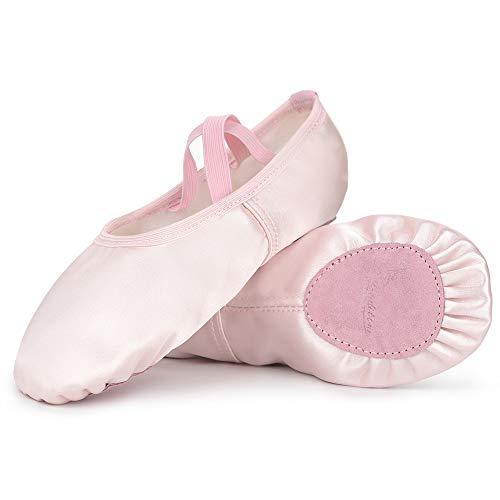 Soudittur Scarpette da Danza Classica Mezze Punte Raso Ballerine Bambina e Adulti Rosa 29 EU (Si Prega di Selezionare Size One più Grande)
