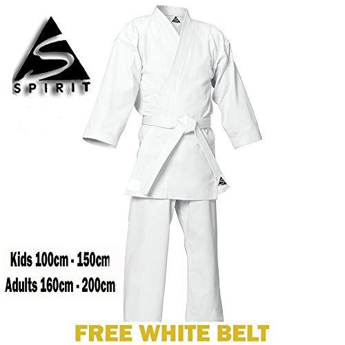 Spirit - Kimono da Karate in 100% cotone bianco, 0,25 kg, 4/170 cm