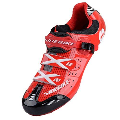 Uomini Donne Nuovo Scarpe Ciclismo Strada Giallo/Verde 46 (EU44, Rosso/Nero)