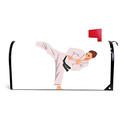 wendana Karate Fighter in Kimono Doing Kick Male Athlete Copertura della Cassetta delle Lettere Magnetica in Vinile per casa e Giardino, 45,7 x 53,3 cm