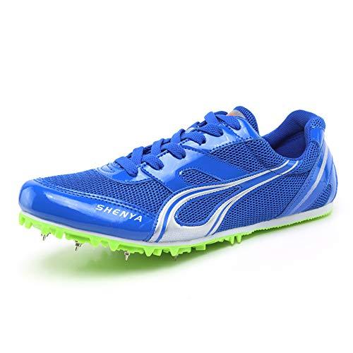 YXZNB Donna Uomo 7 Spike Shoes, Atletica Scarpe Lento Shock Indossare Scarpe di Formazione Idonei agli Sprint E per La Concorrenza,Blu,40
