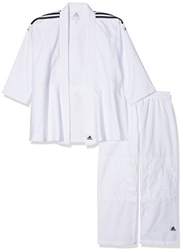 Adidas Anzug Judo Uniform Club- Kimono da Judo, Brillante Nero/Bianco, 130