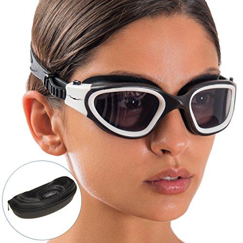 AqtivAqua Occhialini da Nuoto Ad Ampia visibilità // Allenamenti di Nuoto - Acque Aperte // Linea da Interno - Esterni (Colore Nero e Bianco)