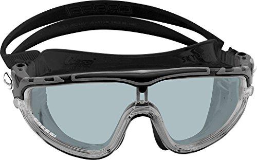 Cressi Skylight Swim Goggles, Occhialini Premium per Nuoto, Piscina, Triathlon e Sport Acquatici Unisex Adulto, Nero/Nero/Lenti Grigio