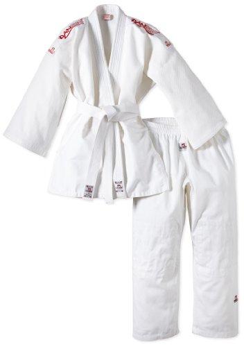 DANRHO Judogi Yamanashi mit Schulterstreifen, Bianco (Weiß), 150 cm