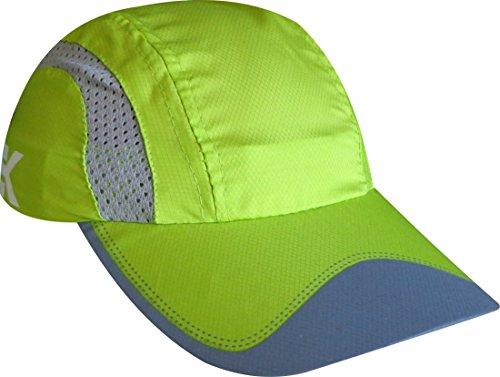 EKEKO Cappellino da Running X Race, Vsystem, Tessuto microperforato Traspirante con Dettagli Riflettenti, per Il Running e Sport in Generale. Colore Verde.