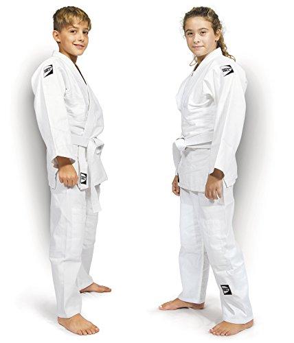 Green Hill Judogi Junior 350gr/m2 Kimono Divisa Judo Jiu Jitsu, Unisex Bambini, Bianco, 150