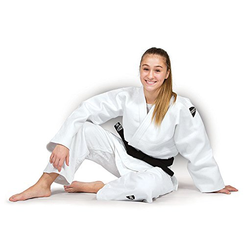 JUDOGI GREEN HILL SEMI COMPETITION ADVANCED 630g/m2 JUDO GI KIMONO BIANCO BLU (Bianco logo nero, 170 Slim Fit)