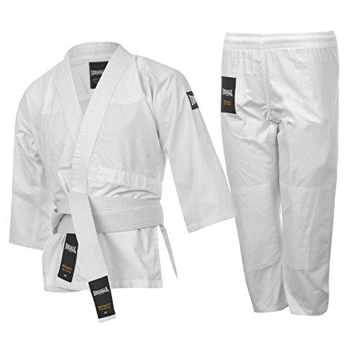 LONSDALE bambini da Judo Arti Marziali Set giacca pantaloni cintura Lotta Sport Cotone bianco S