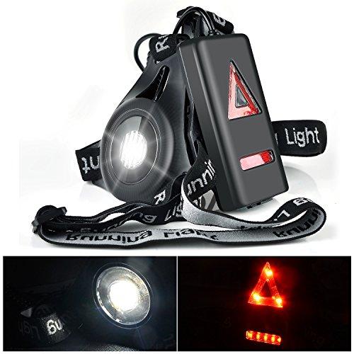 Myguru Luce Corsa Ricaricabile USB, Running Light Lampada Corsa con Luce di Avvertimento Dietro Perfetto per Jogging, Camminare, Campeggio, Lettura, Corsa, Pesca, Arrampicata