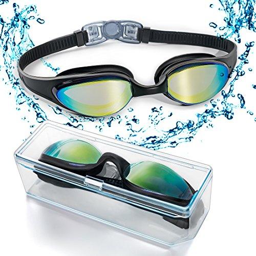 Occhialini da nuoto, occhialini da nuoto con ponte nasale morbido e flessibile e lenti colorate a specchio, anti-appannamento, anti perdita con protezione UV, occhiali da nuoto triathlon per adulti