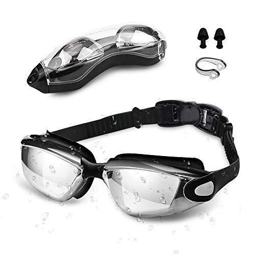 Occhialini da Nuoto , otumixx Occhiali da Nuoto Anti-appannamento Anti-perdita Protezione UV Archetto Regolabile Occhiali da Piscina Triathlon per adulti Uomini Donne Bambini Giovani - Nero