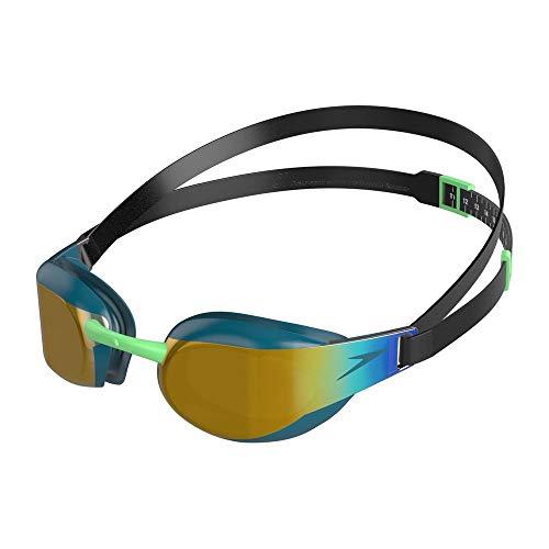 Speedo Fastskin Elite Mirror, Occhialini da Nuoto Unisex-Adult, Nero/Nordic Teal/Oro, One Size
