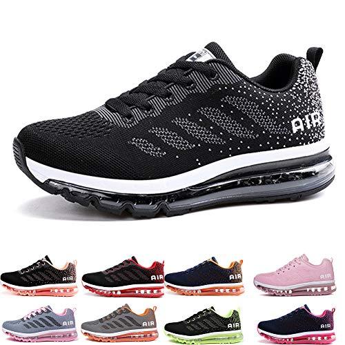 Uomo Donna Air Scarpe da Ginnastica Corsa Sportive Fitness Running Sneakers Basse Interior Casual all'Aperto Black White 39