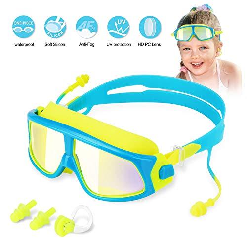 WOTEK Occhialini da Nuoto per Bambini, Professionali Occhialini per Piscina e Snorkeling, Impermeabile Occhiali Anti Appannamento & Protezione UV(con 2 Earplugs +1 Clips Naso+1 Box di stoccaggio)